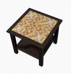 Stained Wood and Glass Tile End Table