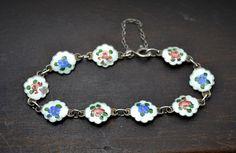 Vintage Sterling Silver Guilloche Enamel FLOWER Bracelet par Foxing