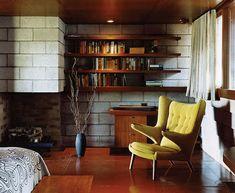 yellow papa bear chair in Frank Lloyd Wright home