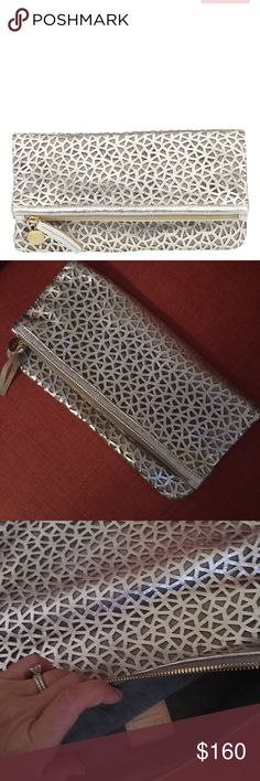 Clare V foldover silver clutch Great condition, beautiful clutch Clare Vivier Bags Clutches & Wristlets