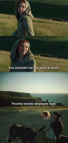 """The quote makes me go """"yikes"""", but Demelza's hood is so cute and them riding on Darkie together is my weakness so I overlook it Poldark 2015, Demelza Poldark, Poldark Series, Ross Poldark, Historical Romance, Historical Photos, Acteurs Poldark, Luke Norris, Ross And Demelza"""