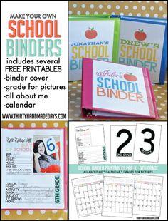 School Binder with Printables - 12 DIY Binder Organization Projects School Supplies Organization, Binder Organization, Organizing, Organising Tips, School Grades, School Days, School Stuff, Diy School, School Items