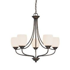 Capital Lighting 4015BB-111 Marlow Collection 5-Light Chandelier, Burnished Bronze Finish with Soft White Glass Shades. $163. Amazon
