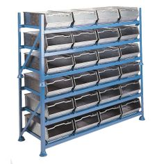 Model SBH11 #Steel #Bin #Racks - #Stackable Three #shelf #stacking units of all #welded construction with bin retainers. Bins can be stored 4 wide each rack taking 12 bins in total. Available with horizontal or tilted shelves for ease of component viewing. N.B. Steel bins are sold as a separate item.  See more at: http://shop.hsil.co.uk/p-4082-steel-bin-racks-stackable.aspx#sthash.CjU9blyQ.dpuf