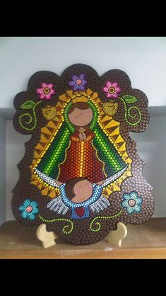 Puntillismo Virgen by Carolina Religious Paintings, Cross Paintings, Religious Art, Dyi Crafts, Felt Crafts, Virgin Mary Art, Aboriginal Dot Art, Painted Clay Pots, Arte Country
