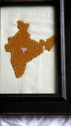 Framed applique of India hand stitched with Love by PreciousGoons, $15.00