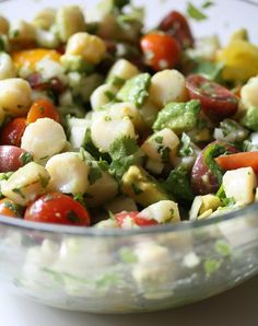 No-effort summer meal: Citrus Scallop Summer Salad with avocado, cilantro, and ripe cherry tomatoes. Yum