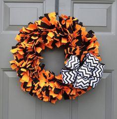 Halloween Fabric Wreath Orange and Black