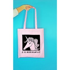 Rock On Ruby 'Be the Unicorn' Tote Bag in Pink ($13) ❤ liked on Polyvore featuring bags, handbags, tote bags, pink, tote handbags, handbags totes, unicorn purse, blue purse and tote hand bags
