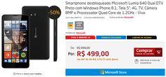 """Smartphone Microsoft Lumia 640 Dual DTV Tela 5"""", 4G, TV, Câmera 8MP e Processador Quad Core de 1.2GHz >"""