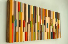 Wood Wall Art, 3D Wall sculpture is made from recycled wood pieces. Each wood piece is hand sanded, dyed or painted to receive this modern
