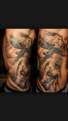 Religious tattoo. Angels. Heaven. Rib tattoo. Tattoo.