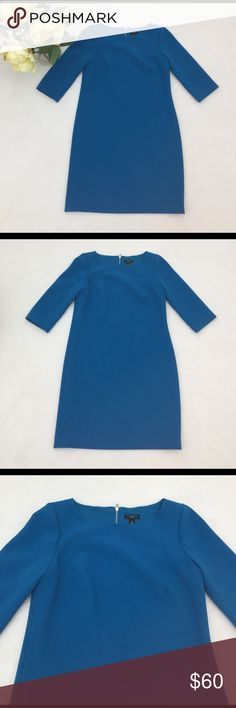 Like New Ann Taylor blue back zipper dress Very elegant dress with zipper on the back. Wore once and looks absolutely like new. Materials polyester, rayon,spandex. Dry clean only. Ann Taylor Dresses Midi