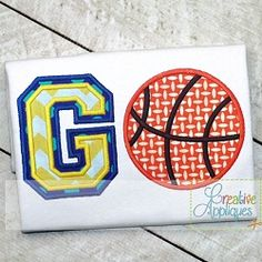 Go Basketball Applique - 4 Sizes! | What's New | Machine Embroidery Designs | SWAKembroidery.com Creative Appliques