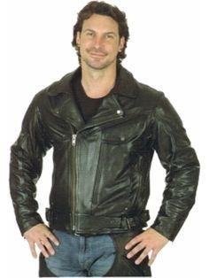 9ff7f1abfc2d UNIK Men s Black Leather Motorcycle Jacket w  Soft Removable Armor