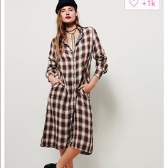 Free People C Shades plaid dress or cover The perfect button up dress or leave it open and wear over your favorite outfit new color Free People Dresses Maxi