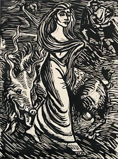 Ernst Barlach (German, 1870-1938). Illustration for Goethe's Faust. Woodcut, c. 1924.