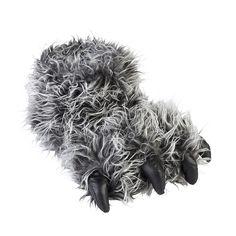 e87567d270d8 Jo   Joe Mens Yeti Foot Grey Shaggy Fur Novelty Slippers