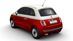 Fiat 500 Bicolore - rood/wit - achterkant