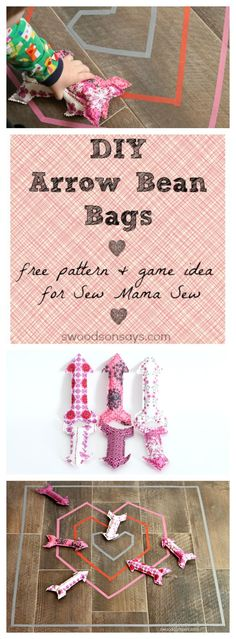 DIY Arrow Bean Bag Free Pattern - a fun game to sew for Valentine's Day. Small arrow stuffies to sew and throw.