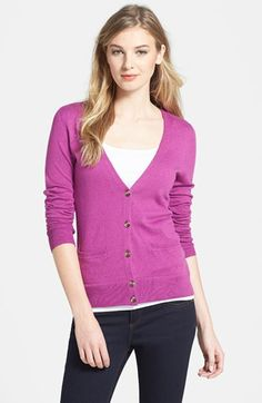 """$59.00 on @Keaton Row website, arranged with full of fashion... click to see it in action. A fine-gauge knit, with pin dot perforations throughout the solid colors, shapes a wardrobe-staple cardigan in a slim, V-neck cut.  24"""" length (size Medium). Front button closure. Front pockets. 53% cotton, 40% rayon, 7% nylon. Machine wash cold, lay flat to dry. By Caslon; imported. Point of View."""