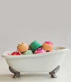 Boxes of soapy bath candies melt into water to fill bathrooms with the scents of pink champagne, lime, or chocolate truffles