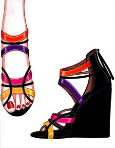 Relatively normal heel, but the artist uses bright colors that contrast well against the black. Fashion Images, Fashion Art, Fashion Shoes, Shoe Sketches, Fashion Sketches, Fashion Illustration Shoes, Jewelry Design Drawing, Shoes With Jeans, Shoe Art