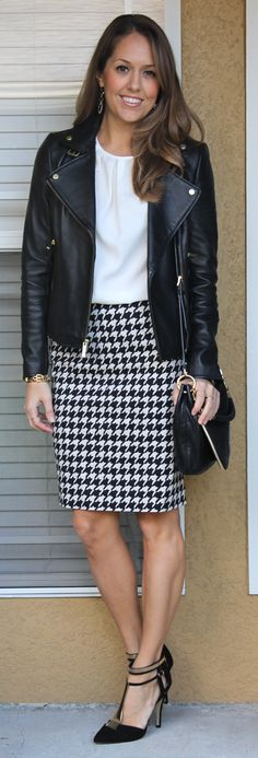 Motorcycle Jacket and Houndstooth Skirt. Like the look of white top. And leather