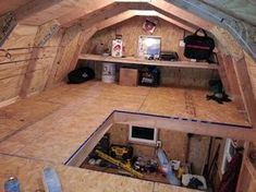 Shed Plans - Extra storage space added with a wraparound shed loft.would incorporate this into chicken with entry/storage area underneath opening/at front shed door - Now You Can Build ANY Shed In A Weekend Even If You've Zero Woodworking Experience! Diy Shed Plans, Storage Shed Plans, Built In Storage, Garage Storage, Storage Area, Extra Storage, Storage Shed Organization, Shed Design Plans, Loft Storage