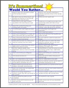 I know many of you are already out for summer, but for those of you still teaching, here are a few fun freebies to use with your students. Here are 20 fun Would You Rather Questions that all have to do with the end of the school year or summer. Use as discussion starters or writing prompts! This ABC nature walk would work well on