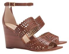 56a3da9762f6 Tory Burch Brown Tan Leather Perforated Gladiator with Tb Gift Receipt Wedges  Size US 9.5 Regular (M