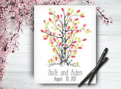 Custom Hand Drawn Guestbook Tree Wedding by LoveArtDesign on Etsy Wedding Tree Guest Book, Guest Book Tree, Tree Wedding, Personalized Wedding, Personalized Gifts, Handmade Gifts, Wedding Fingerprint Tree, Wedding Posters, Wedding Guest Book Alternatives