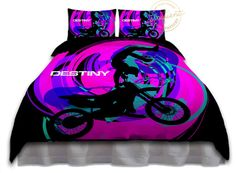 Girls Motocross Bedding Sets - Comforter Black with Pink, Teal, Purple Swirls - Motocross Bedding - Kids Sports Personalized #264 by EloquentInnovations on Etsy