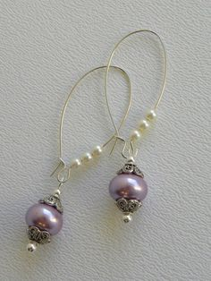 Lavender Handmade Beaded Earrings by bdzzledbeadedjewelry on Etsy, $12.00