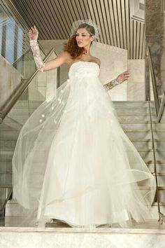 Strapless Empire Waist Silhouette Wedding Gown