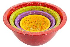 """Zak Designs S/4 Assorted Nested Bowls, Red/Multi (recycled melamine; 10.75""""Dia x 5.25""""H; 4.4 qt., 2.5 qt., 1.25 qt., 18 oz.) $20 (Got it May 20101 @ Urban Outfitters for $20!)"""