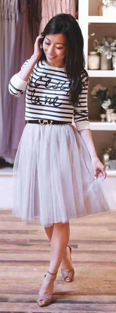Tulle And Stripes Outfit Idea by Extra Petite