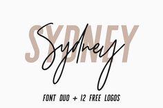 Sydney | Font Duo + 12 Free Logos by Jen Wagner Co on @creativemarket
