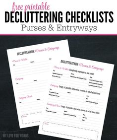 Keep track of your decluttering with this handy decluttering checklist for purses and entryways.