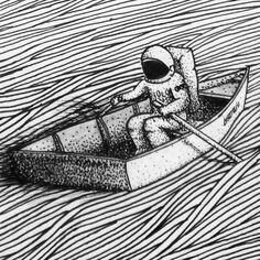 No voy a estar ahí más, no voy a ser parte de eso, no voy a seguir los estándares impuestos en mis ancestros manipulados, no voy a involucrarme más en esta red, no ...  #art #arte #illustration #ilustración #draw #drawings #design #artwork #dotwork #linework #blackandwhite #ink #astronaut #astronauta #boat #navegante #bote #surrealism #rare #space