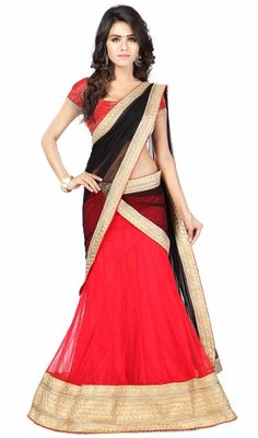 Evoke a sense of classic beauty dressed in this red color net a line lehenga choli. Look ravishing clad in this attire which is enhanced resham and zari work. Upon request we can make round front/back neck and short 6 inches sleeves regular lehenga blouse also. #SexyBlackAndRedAlineCholi