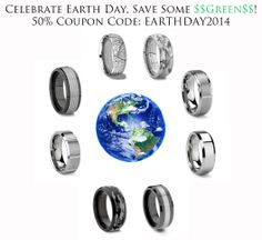 One Day Only, Tungsten Carbide Rings, Eco Friendly Fashion, Earth Day, Precious Metals, Coupon Codes, 50th, Wedding Rings, Engagement