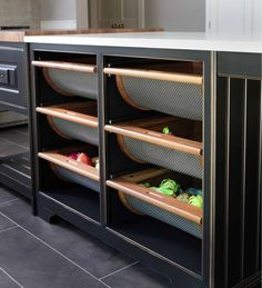 Fresh vegetable storage bins: Are you an avid cook who likes to have ingredients at an arms length? These vegetable pull out bins keep your food organized while letting you grab an onion from right under the counter.