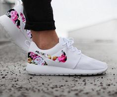 Nike Roshe Run Womens White with Custom Black Pink Floral Print