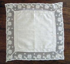 Vintage White Cotton Handkerchief Lace Edge by SharetheLoveVintage, $15.00