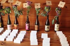 beer bottle vases photo by Faith Photography