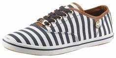 Tom Tailor Sneaker, im modischen Marine-Look für 39,99€. Schlichter Sneaker mit Streifen im Marine-Look, Obermaterial aus feinem Textil mit Lederimitat bei OTTO