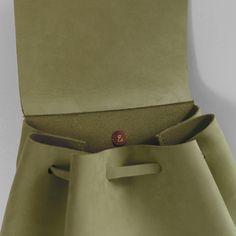 nubuk handmade khaki backpack III detail