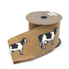 """4"""" B/W Cow on Burlap Ribbon 10 Yds Item# 1622123100"""