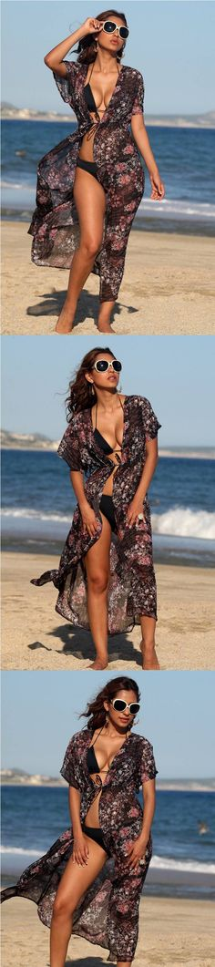 Elegant Full Length Black Paisley Bikini Swimwear Cover Up Beach Resort Robe.